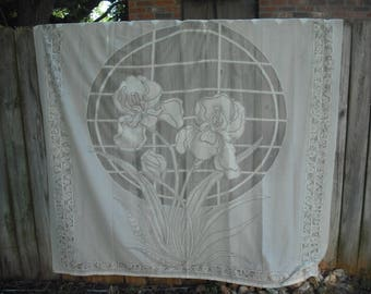 Off White Iris Lace Shower Curtain, Shabby Chic