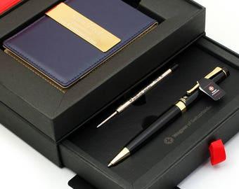 Free engraving - SWISS WAGNER, 24K Gold, Mens Leather Money Clips, Roller Ballpen, Ballpoint pen, Groomsmen Gift, Free Customization