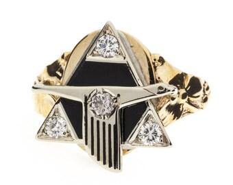 14K Vintage Onyx Diamond Ring