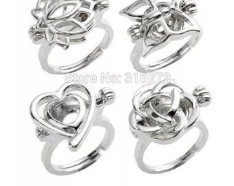 CDWG41  Jewelry 20pcs/LOT Wholesale Rings Wish Love Pearl Cage Ring Lotus Butterfly Heart Rose Cages Mixed Designs