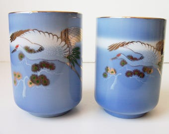 2 Hand painted porcelain cups without handles , Japan  (#EV160)