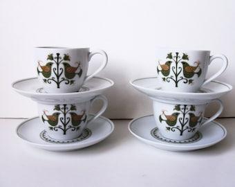 Set of 4 vintage Noritake coffee/tea cups & saucers. Japan (#EV248)
