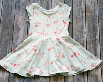 Flamingo Dress. Toddler Dress. Little Girl Dress. Twirl Dress. Twirly Dress. Baby Dress. Girl Flamingo Dress. Summer Dress. Comfy Girl.