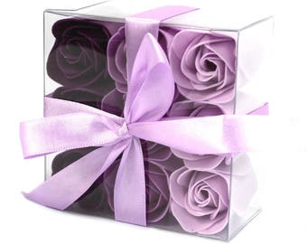 Set of 9 Soap Flowers - Lavender