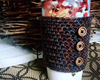 Handmade Crocheted Coffee Cup Cozy, size large