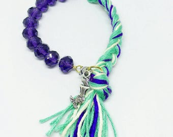 Friendship Bracelet Bordered Pink Purple and Green Braid