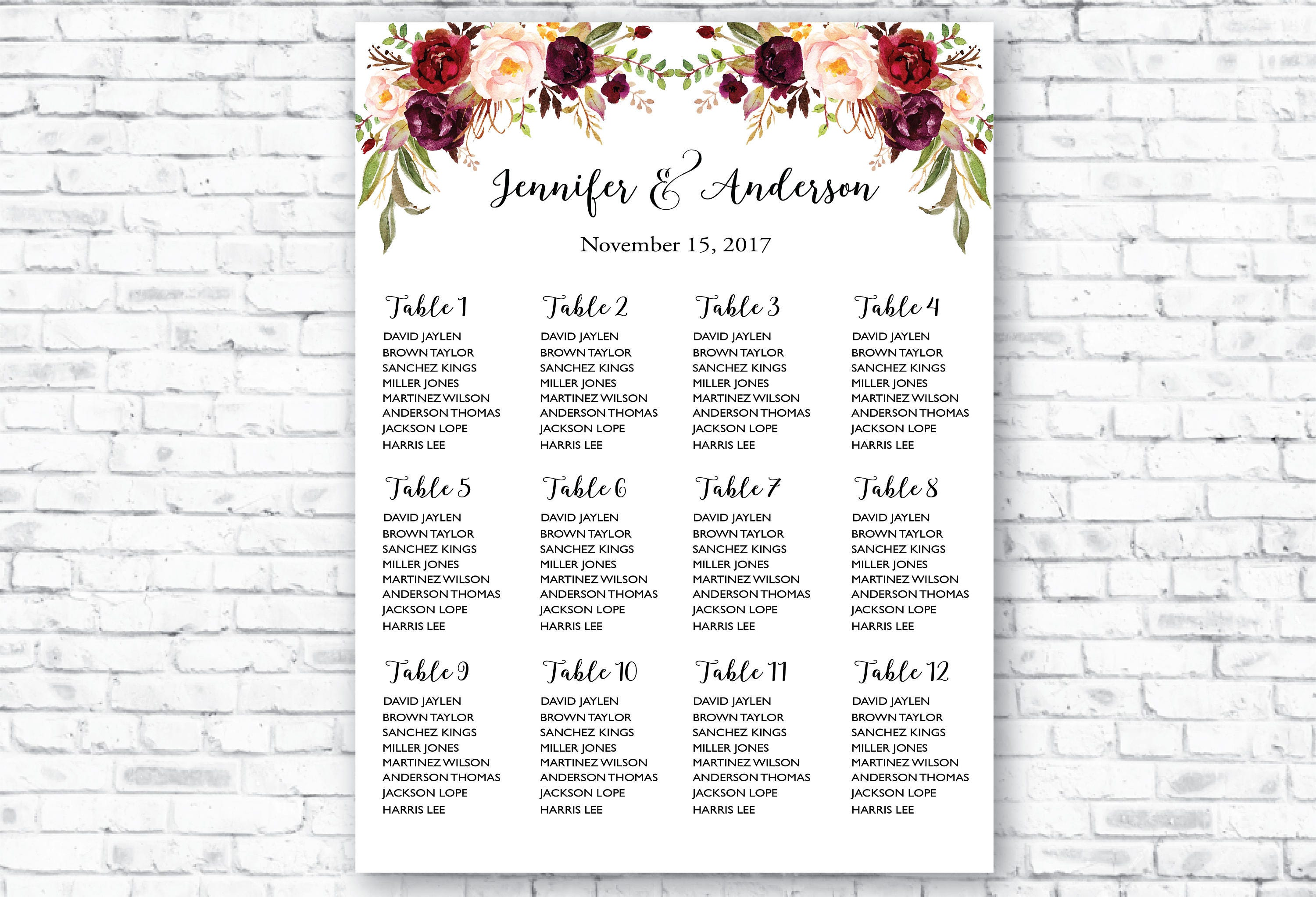 Printable Wedding Seating Chart Template Boho Table Assignment