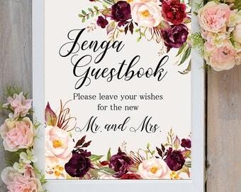 Jenga Guestbook Wedding Sign Digital Floral Marsala Burgundy Peonies Wedding Printable Bridal Decor Gifts Poster Sign 5x7 and 8x10 - WS-024