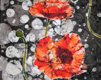 Poppy reflections - Quality signed print from an original batik painting