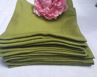 Linen napkins set of 4 (Large) - Avocado green linen dinner napkins.