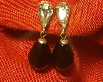 Black Teardrop Earrings With Crystal Accents