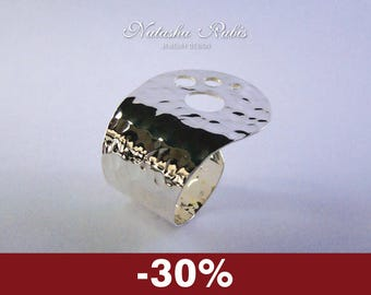 Statement Ring Designers jewelry Silver plated copper ring Hammered ring Handmade original ring design