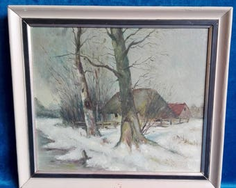 Painting, Janus Hammonds, farm in winter landscape, 1951