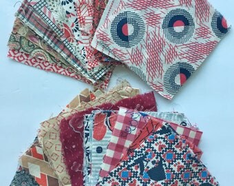 Red Scheme Vintage Quilt Squares and Patches