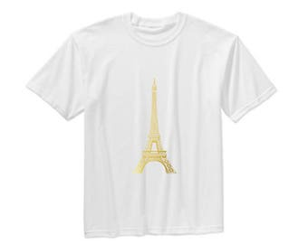Gold Eiffel Tower T-shirt, Paris top t-shirt
