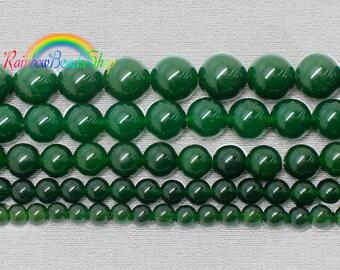 Natural Dark Green Jade Beads, Dark Green Beads, Dark Green Gemstone Beads, Round Natural Stone Beads, 4mm 6mm 8mm 10mm 12mm