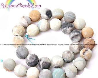 discount -10% Frosted Matte Blue Amazonite Beads, Gemstone Beads, Round Natural Beads, 4mm 6mm 8mm 10mm 12mm