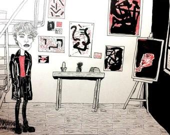 boy in studio (print)