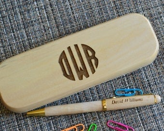 Personalized Engraved Pen Set, Wooden pen Set, Graduation Gift,  Custom Pen Set, Birthday Gift, Maple Pen, monogram pen case. PB6