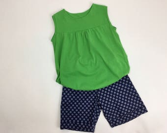 Mädchenttunika girls blouse tunics green summer girls sleeveless