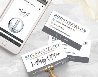 Rodan and Fields Business Card Personalized Digital File | Gray Hearts