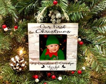 Christmas Ornament| Ultrasound Ornament| Ultrasound Frame| Grandma Grandpa Frame| Grandma Grandpa Gift Idea For Christmas|