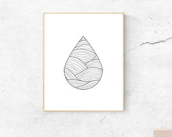 Water droplet, instant download, wall art, printable art, poster, minimal print, minimalistic, neutral