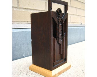 Reclaimed Wood Mahogany and Doug Fir Geometric Design Vase
