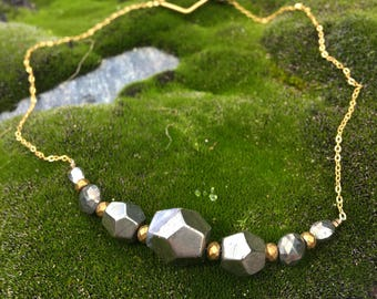 Pyrite & Fumed Hematite Necklace