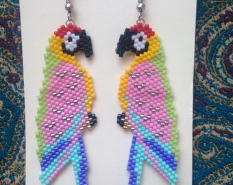 Pink Parrots Earings