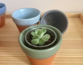 4 mini terracotta plant pots - ideal for succulents / cactus / candle holder