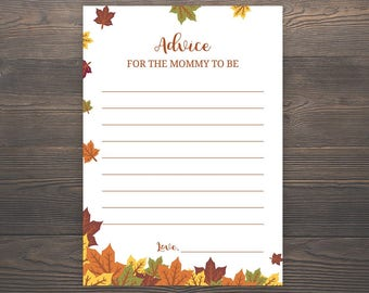 Fall Baby Shower Games, Advice for the mom to be, Autumn Baby Shower, Printable Baby Shower Games, Mom Advice Cards, Printable, S019