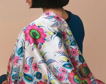 Luxury designer silk scarf , silk scarf woman, large silk scarf, Ukrainian scarf, Ladies Silk Scarf,Personalized Gift for women