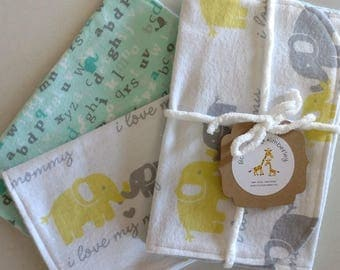 I Love Mommy, Elephants, Giraffes and ABCs Burp Cloths - Set of 2 - Baby Gift - Baby Shower Gift