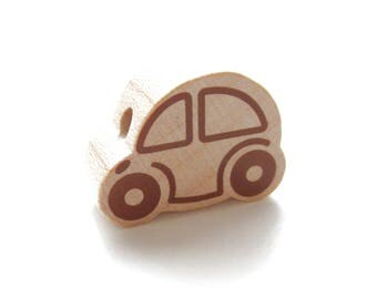 Small car - natural wooden bead