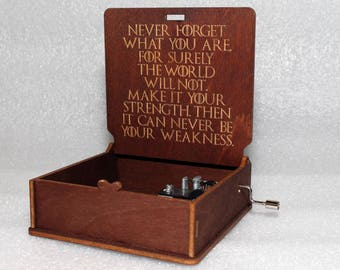 """Never Forget What You Are - Engraved Wooden Music Box - """"Game Of Thrones"""" - Night's Watch - Hand Crank Movement"""