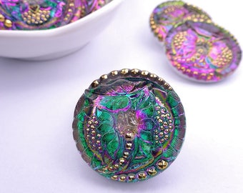 Czech glass knot-petals-27mm-green Purple gold-1 piece