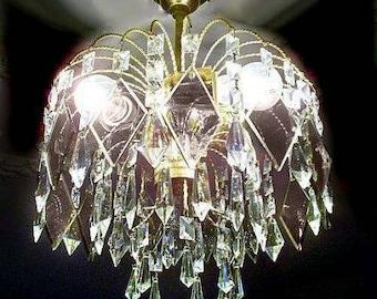 Vintage crystal chandelier | Etsy