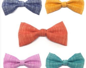 Attachable dog bow tie, solid color, linen, fabric, classic, red, blue, pink, orange, high quality, classic, plain