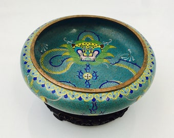 Chinese Cloisonné Blue Enamel Dragon Chasing Flaming Pearl Copper Bowl with Wooden Stand