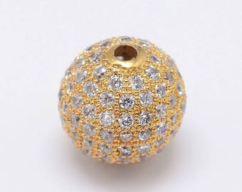 1pc 14k Gold Plated Micro Pave Cubic Zirconia Brass Beads for Jewelry Making