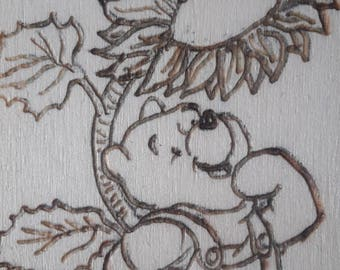 Winnie the Pooh bookmark, woodburning/pyrography Disney