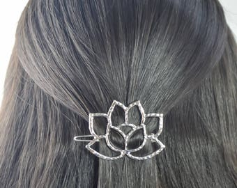 lotus diamond  hair clip pin gold silver Valentine's Day gift idea