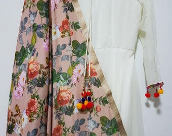Beige Floral chinon dupatta orange, white and pink flowers bridal festive party wear