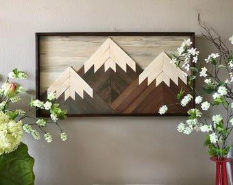 "Mountain Reclaimed Wood Wall Art - 20""x38"""