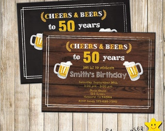 Digital Cheers and Beers Birthday invite. 50th birthday. Big 30. Any Age birthday