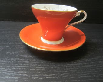 Vintage Aynsley Bone China Cup And Saucer Persimmon/Orange Colour Corset Style Cup