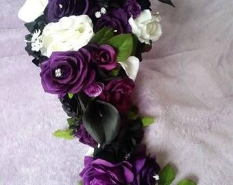 Purple .white and black cascading silk bouquet