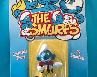 Vintage Clown Smurf figurine, 1995 Smurf figurine, Smurf collectable, Smurf miniature figurine,