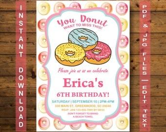 Donut Birthday Invitation, Donut Invitation, INSTANT DOWNLOAD, Donut Party Birthday Invitation, Sweet Celebration, Donuts, Donut Party